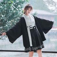 Japanese bushido kimono woman cosplay yukata haori printed Crane coat + black and white contrast color dress two piece suit