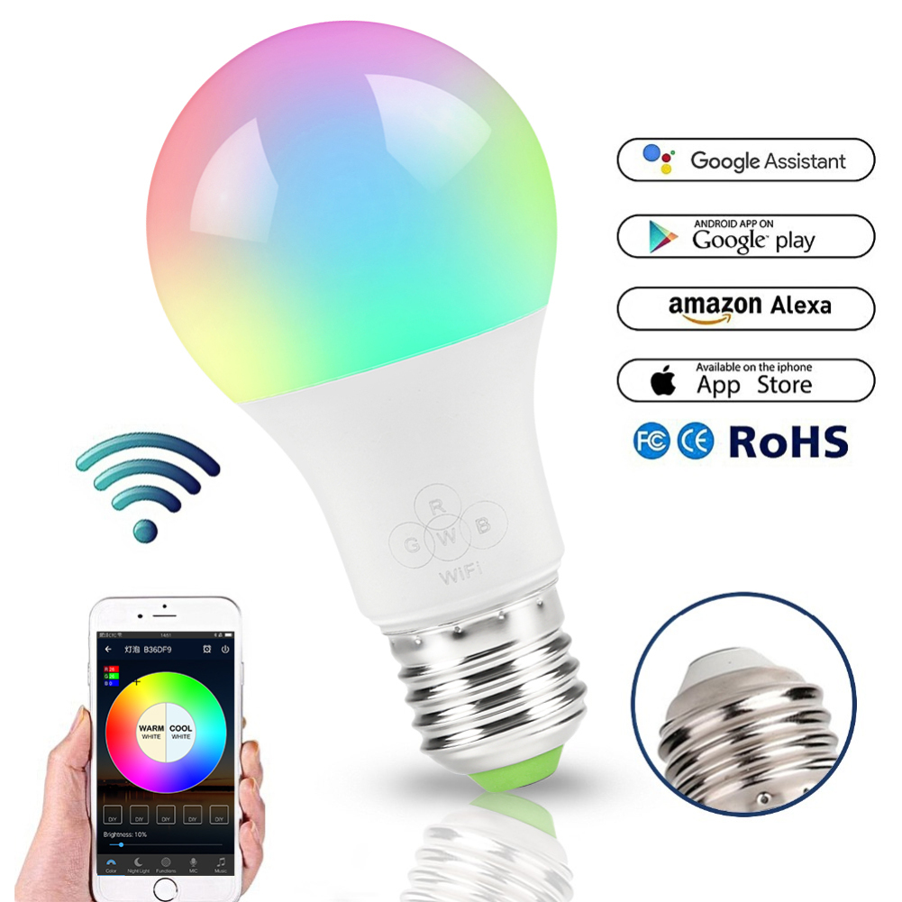 WiFi Smart Light Bulb,Dimmable,Multicolor,Wake-Up Lights,RGBWW LED Lamp,Compatible With Alexa And Google Assistant