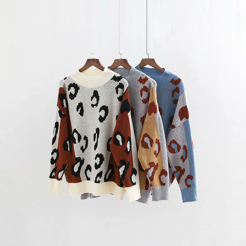 New Women-s Vintage Leopard Sweaters Autumn-Winter Ladies Patchwork White-Brown Pullovers Girls Oversized Jumpers Blue Knitwear