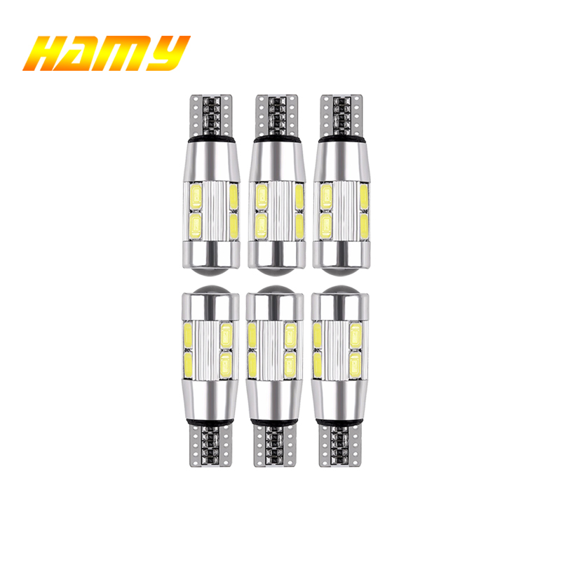 6x Car T10 W5W LED Turn Signal Bulb Canbus 12V Auto Interior Dome Reading Light License Plate Wege Side Parking Reverse Lamp