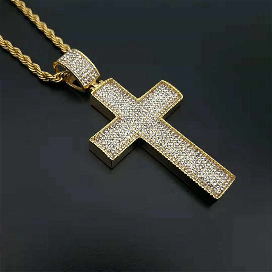 Męska naszyjnik mrożona z dżetów duży krzyż wisiorek naszyjnik dla mężczyzn złoty kolor łańcuch ze stali nierdzewnej Hip Hop biżuteria