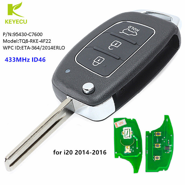 Keyecu Replacement Upgraded Flip Remote Key Fob 433mhz Id46 For