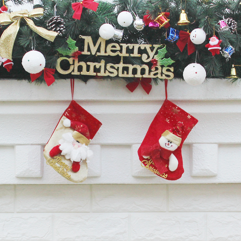 aliexpresscom buy small christmas socks santa claus snowman holiday gift bags christma tree ornaments hot selling festive party supplies for home from - Small Christmas Stocking Decorations