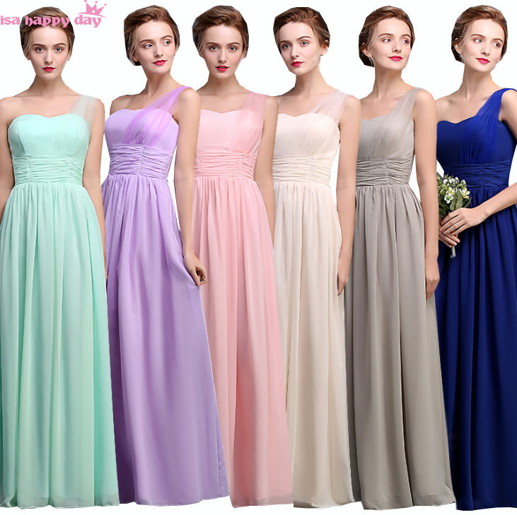 light chiffon pink purple girls sweetheart floor length bridesmaid dress with strap elegant bridesmaids dresses lace up B3960-in Bridesmaid Dresses ...