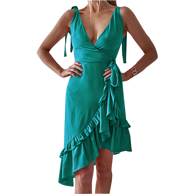 Summer Party Kawaii Female V-neck Ruffles Asymmetrical Wrap Dress Women Spaghetti Strap Sexy Dress Party Elegant Dress Pl0521m Dresses