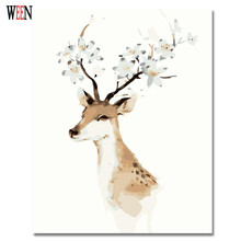 WEEN Deer Pictures By Numbers On Canvas DIY Animal Digital Oil Painting Coloring Cuadros Decorativos Art