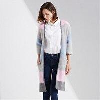 Autumn Women Long Cardigans Three Quarter Sleeve Open Stitch Knit Sweater Cardigans Slim Stripe Hit Color