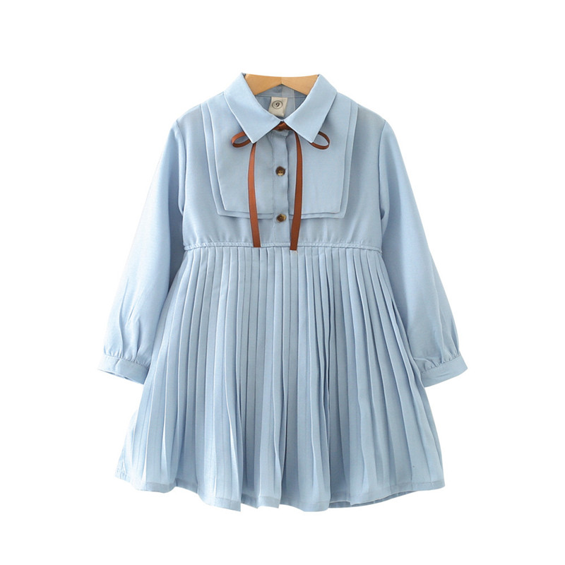 a070d3f7ee767 US $12.34 |2018 Fashion Girls Clothing Autumn Girl Dress Cotton Long Sleeve  Children Dress Solid Pleated Kids Dresses For Girls-in Dresses from Mother  ...