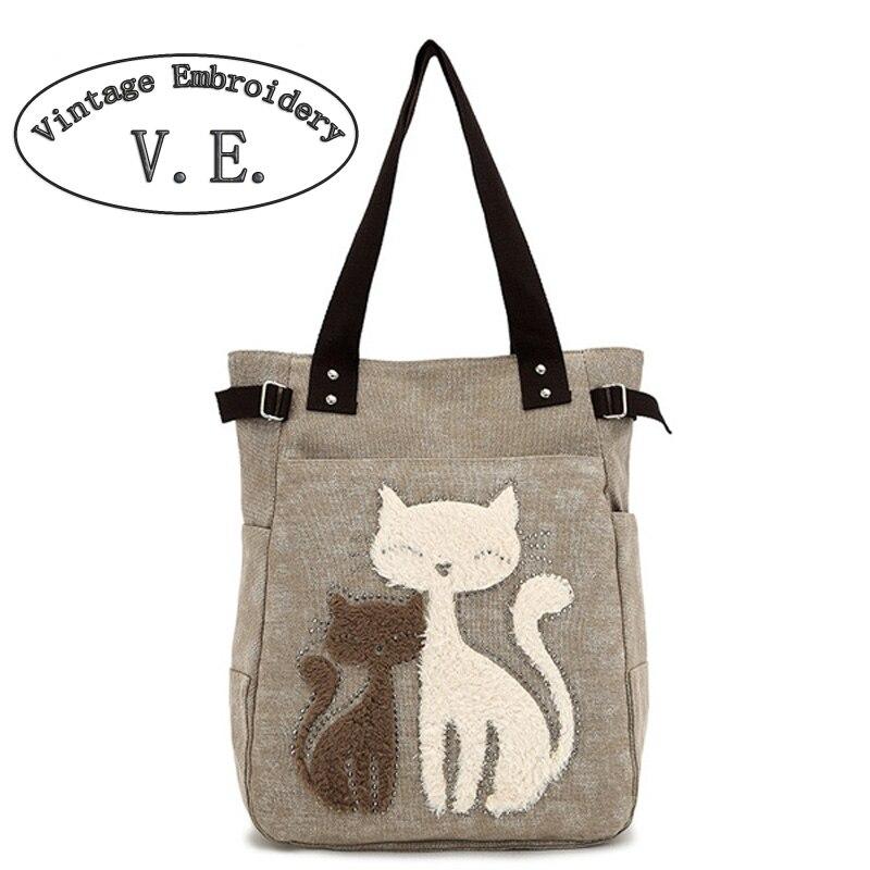 Vintage Stickerei frauen Handtasche Tasche Mit Nette Reizende Katze Appliques Tragbare Vintage Shopping Reisetaschen
