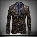 Chaqueta de terciopelo de oro del Mens chaqueta Homens 2015 hombres recién llegado Slim Fit Mens Suit Blazer chaqueta de terciopelo dorado chaqueta hombres del juego de negocio