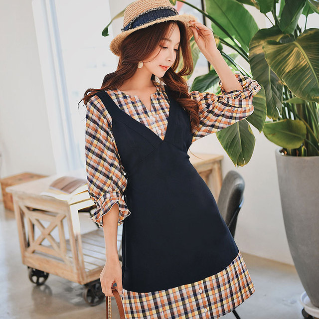 Dabuwawa Spring Patchwork Plaid Midi Dress for Girls Women 2019 New Batwing Sleeve Fake Two-Peice Elegant Chic Dresses DN1ADR002