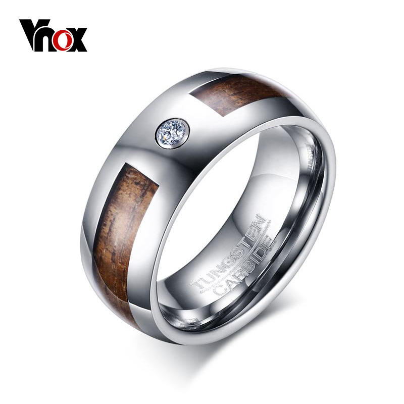 Vnox 8mm Wood Tungsten Carbide Engagement Ring High Polished Men's Wedding Bands with Cubic Zirconia Jewelry black tungsten carbide with dark wood inlay mens wedding ring