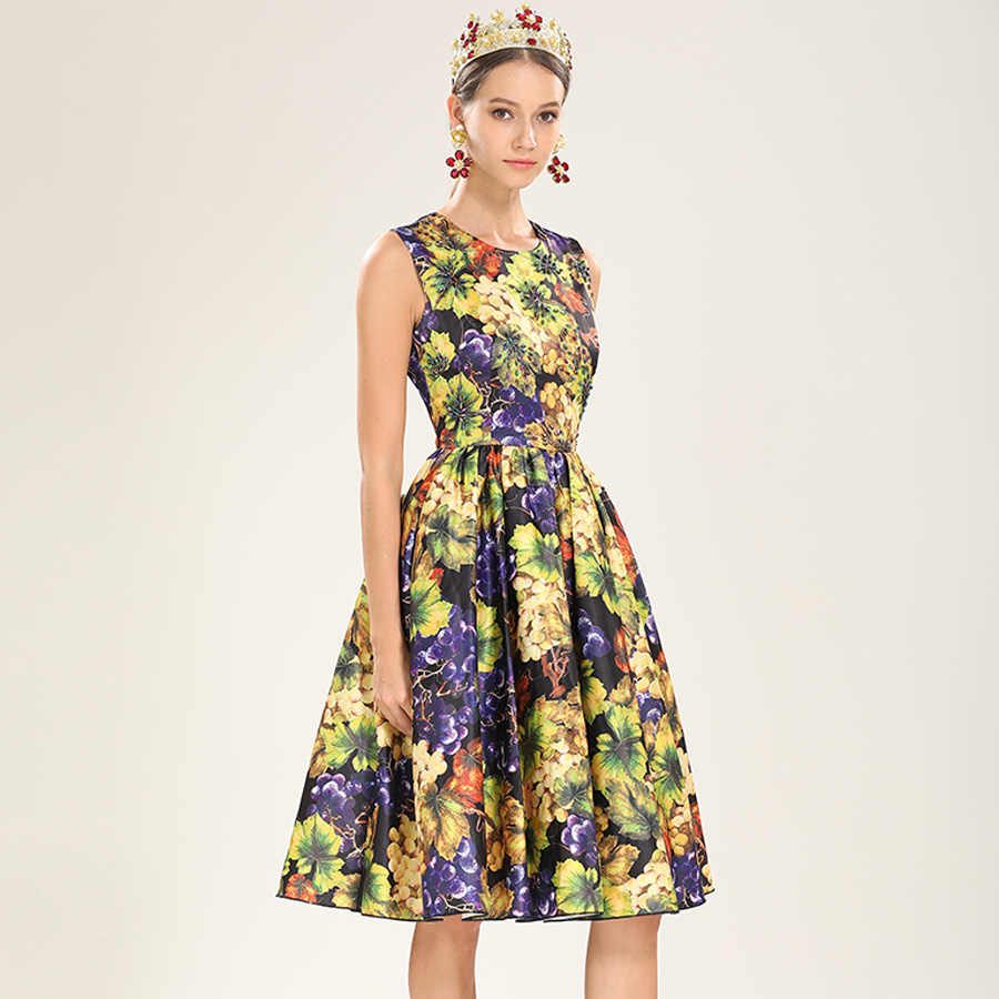 39db145e69 AELESEEN Designer Runway Women Dress Fashion 2019 Flower Grape Print Long  Vintage Autumn Dress Spring Ball Gown Elegant Dress