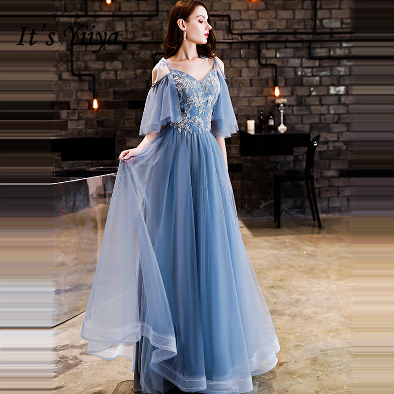 It's YiiYa Evening Dress 2018 Spaghetti Strap Embroidery Boat Neck Lace Up Pleat A-line Dinner Gowns LX1300 Robe De Soire
