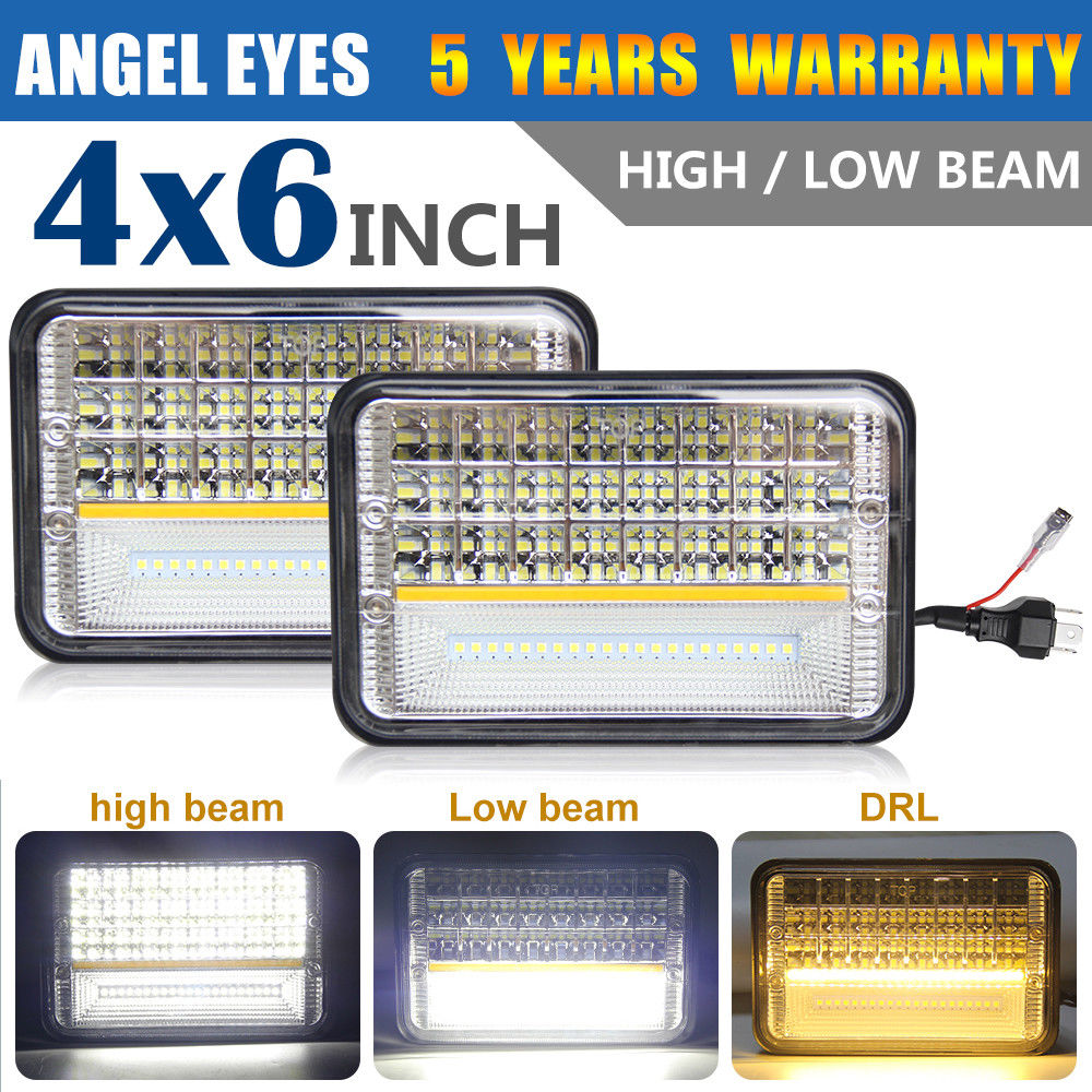 CO LIGHT 4x6inch Rectangle Led Headlight 135W DRL High Low Crystal Clear Sealed Beam Angel Eye Headlamp For Ford Truck Chevrolet hireno headlamp for 2016 hyundai elantra headlight assembly led drl angel lens double beam hid xenon 2pcs