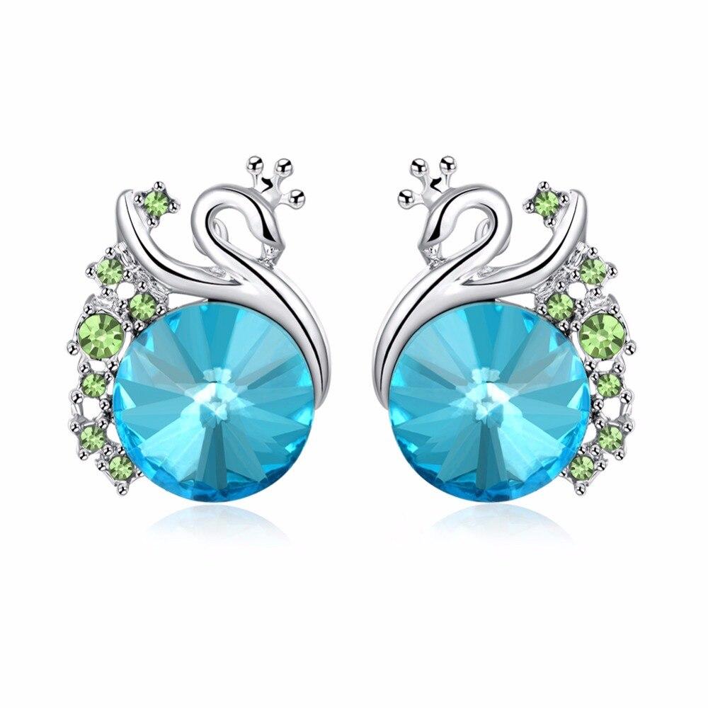 Peacock Stud Earrings Platinum Plated Blue Crystal 4 Carat Round Cut  Created Diamond Bridal Bridesmaid Jewelry