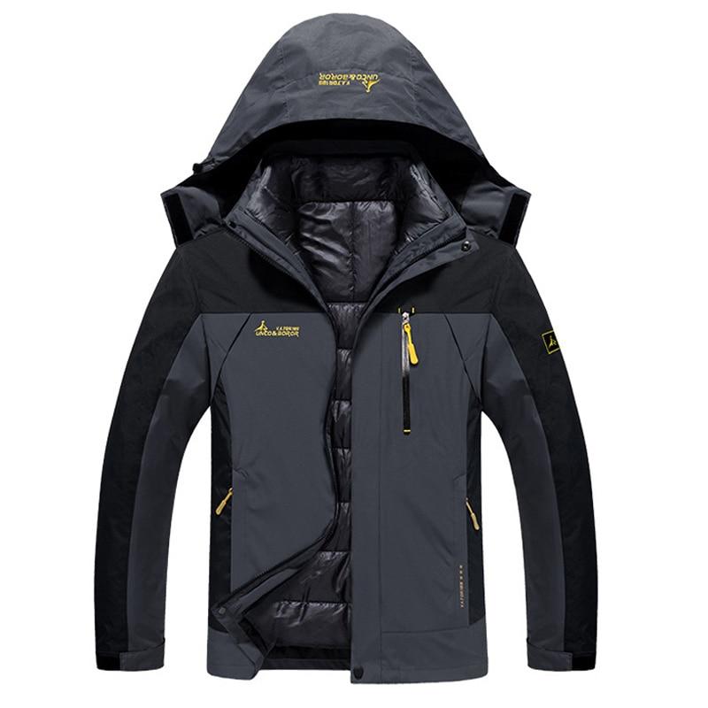 6XL Men's Winter Brand 2 Pieces Inside Cotton-padded Jackets Outdoor Sport Waterproof Coats Hiking Camping Ski Male Jacket VA032