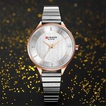 купить CURREN Women's Watches Female Silver Quartz Clock Stainless Steel Strap Fashion Ladies Wrist Watch for Best Gift bayan kol saati дешево