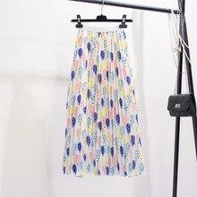 2019 New-Coming Summer Fresh Balloon Printing Pleated Womens Skirt A-Line High Street European Style Mid-calf Women Skirts