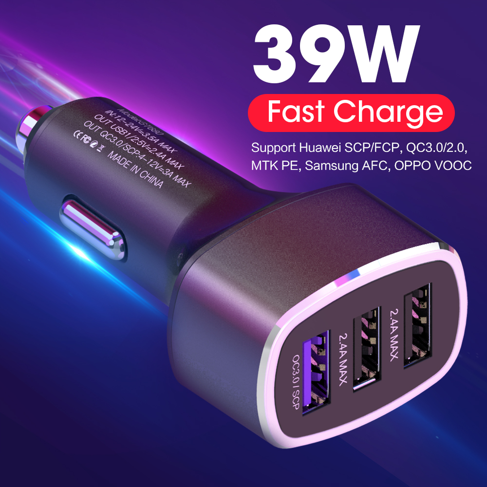 QC3.0 <font><b>Supercharge</b></font> Car Cigar Charger Dual USB Auto Charger Fast Charging Car Cigarette Charger for <font><b>Huawei</b></font> P9 P10 Plus P20 Pro image