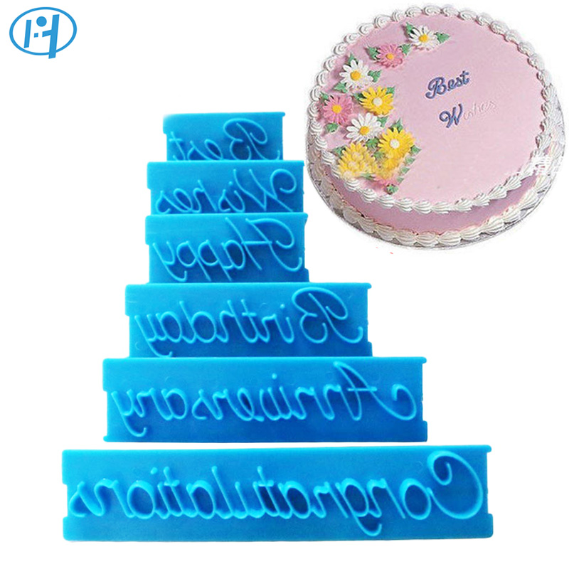 6Pcs Plastic <font><b>Cake</b></font> Cookie Biscuit <font><b>Decoration</b></font> Mold Happy Birthday Best Wishes Anniversary Shape <font><b>Cake</b></font> <font><b>Letters</b></font> Printing Cutter Mold image