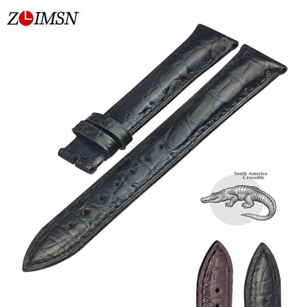 ZLIMSN Double Crocodile Skin Strap Quick Installation Brown Black for Men s Women Luxury Watch Band