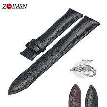 Zlimsn dupla pulseira de pele de crocodilo instalação rápida marrom preto para feminino relógio de luxo tamanho 18mm 20mm 22mm