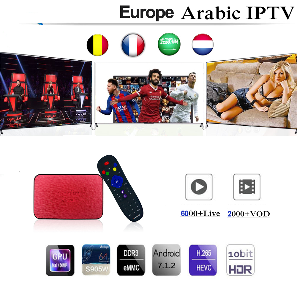 Ipremium Tvonline pro Android 6.0 TV Box With 1 Year Franch Spain Europe Arabic Adult Iptv Subscription PK Mag 256 254 htv box 5