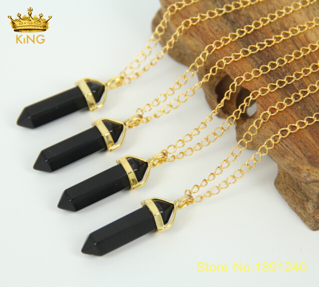 3pcs natural black onyx chic jewelry crystal hexagonal pointed reiki 3pcs natural black onyx chic jewelry crystal hexagonal pointed reiki chakra pendant necklaces beads for men aloadofball Images