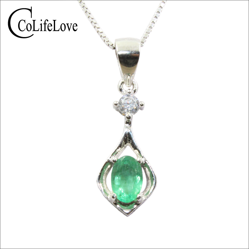 Simple emerald pendant for office lady 4mm 6mm natural Zambia emerald silver pendant necklace solid 925