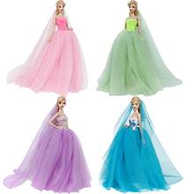 Handmade High Quality Long Tail Evening Dress Wedding Party Ball Gown Veil Lace Skirt DIY Clothes Accessories For Barbie Doll(China)