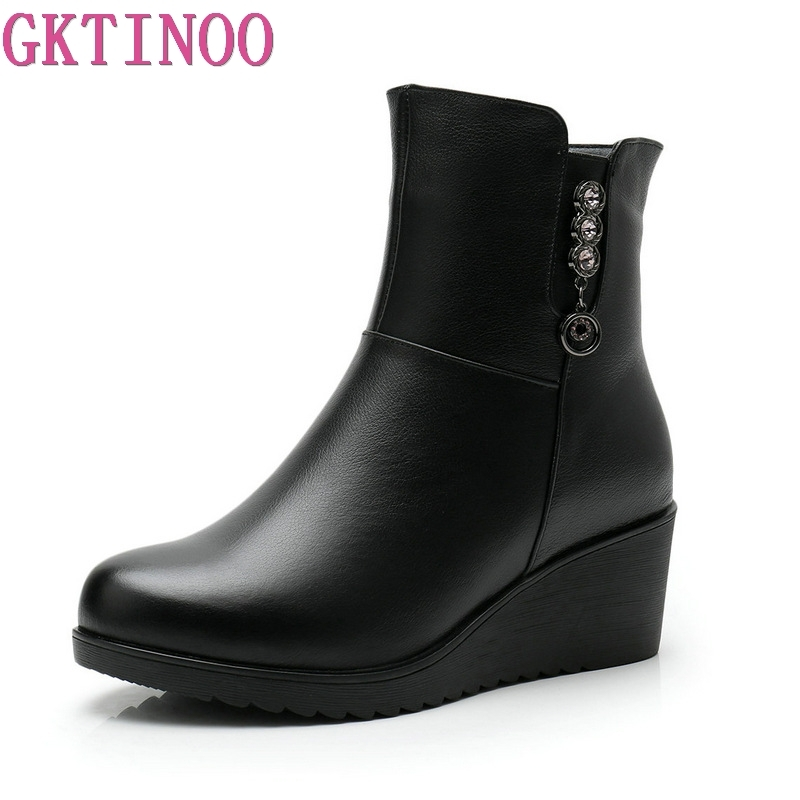 GKTINOO Fashion Wedges Women Boots Genuine Leather Mid Calf Winter Warm Boots High Heels Women Martin Boots Botas Mujer Big Size