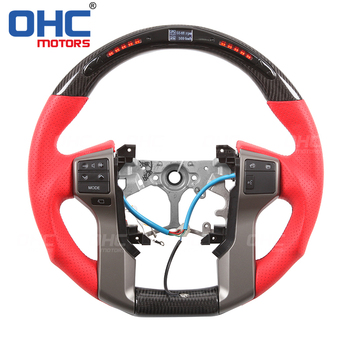Real Carbon Fiber LED Steering Wheel compatible for Toyota Land Crusier Prado 4Runner Tundra