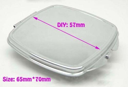Blanc carré en métal Compact miroir cas de maquillage couleur argent bricolage miroir