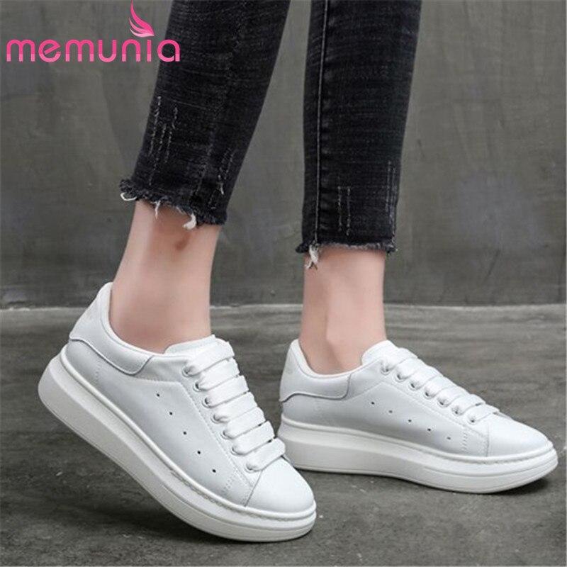 MEMUNIA 6 couleurs 2019 nouvelles chaussures en cuir véritable baskets femmes chaussures décontractées en cuir de vache classique petites chaussures blanches femme