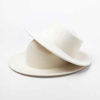 Women 100% Wool Felt Hats White Wide Brim Fedoras for Wedding Party Church Hats Pork Pie Fedora Hat Floppy Derby Triby Hats Base