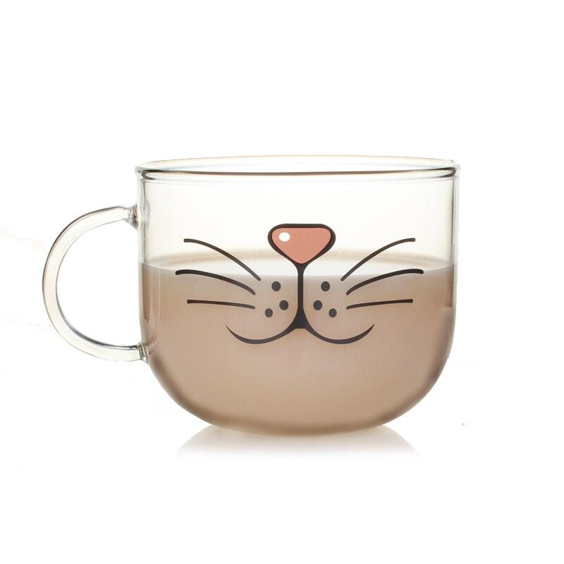 Nouveauté Tasse En Verre Chat Visage Tasses Café Thé Lait Petit Déjeuner Tasse Creative Cadeaux 540 ml