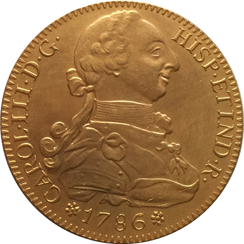 24 - K gold plated 1786 Spain 8 Escudos - Carlos III coins copy
