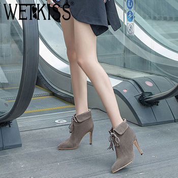 WETKISS Stiletto Heels Women Boots Autumn Tassel Kid Suede Boot Sexy Pointed Toe Lady Shoes Cross Tied Thin High Heels Footwear