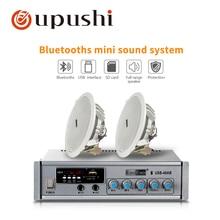Home surround system 40w bluetooth mini amplifier 6.5 inch full range ceiling speaker oupushi audio digital amp roof speakers