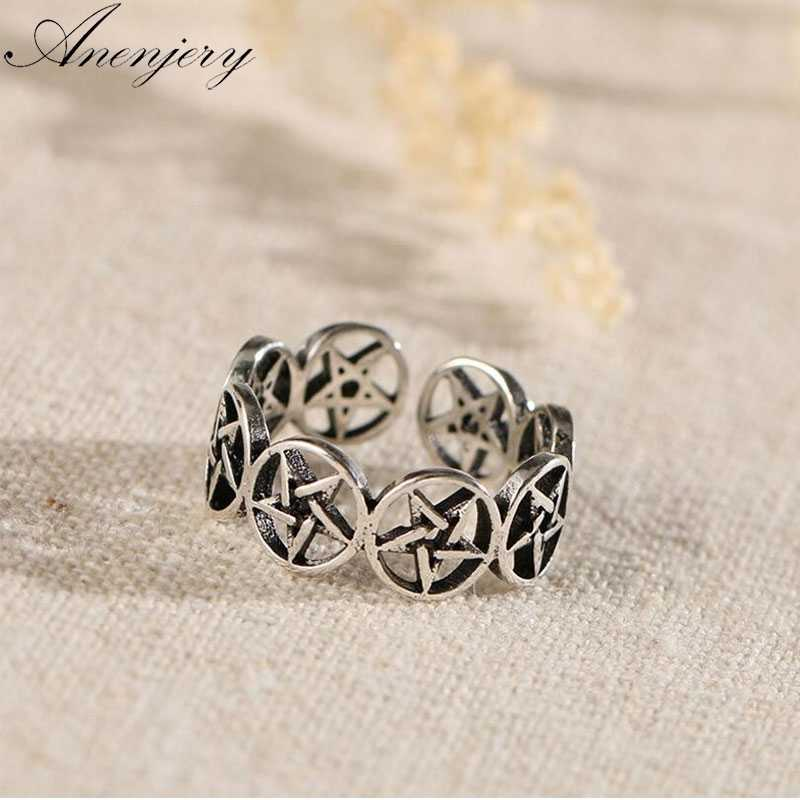 Anenjery Vintage Personality Hollow Round Star Adjustable Thai Silver Ring For Women 925 Sterling Silver Jewelry anel S-R306