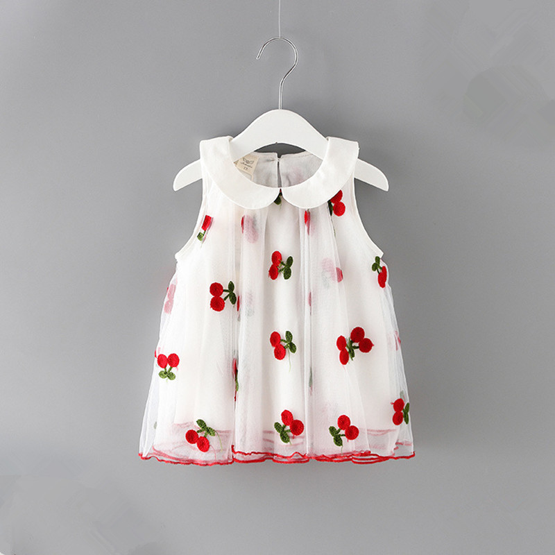 Baby Girls Dress 2019 Peter Pan Collar Cherries Embroidery Baby Dress Infant Kid Girls Lace Princess Dress Clothes 0-2Y