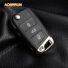 AOSRRUN Folding key base R logo modified For VW Volkswagen Golf 7 MK7 Skoda Octavia A7 2014 2015