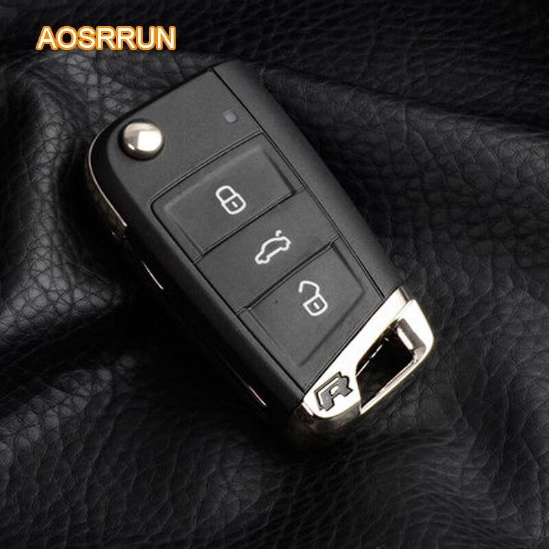 AOSRRUN Pliage clé de base R logo modifié Pour VW Volkswagen Golf 7 MK7 Skoda Octavia A7 2014 2015