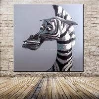 Free Shipping 100% Hand Painted Black White Zebra Low Price Wall Art Home Decoration Unique Gift Canvas Oil Painting 50x50cm