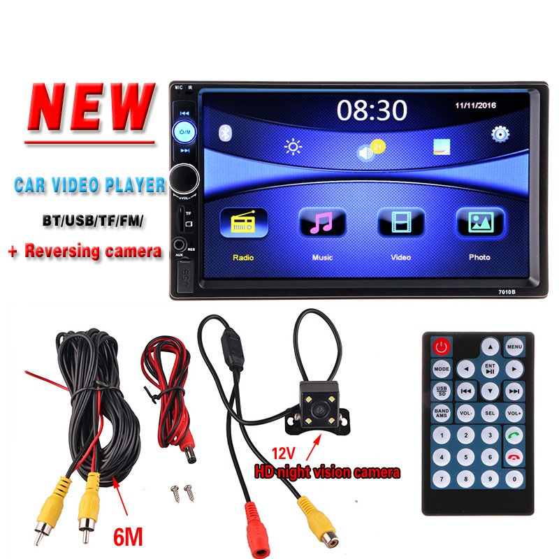 imágenes para 2 din Car Multimedia Player HD Cámara de Visión Trasera Bluetooth Estéreo Radio FM MP3 MP5 DVD Video Audio USB Electrónica de Automóviles Autoradio