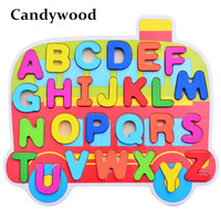 Candywood Cartoon Puzzles Learning 123 ABC Hand Grasp Wooden Toys Learning Education Kids Chrild Toys Gift