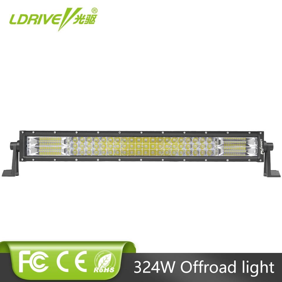 LDRIVE 24 324W Tri-Row LED Light Bar Offroad LED Work Light Spot Flood Combo Beam 4X4 4WD LED Bar 12V 24V for Jeep SUV Truck
