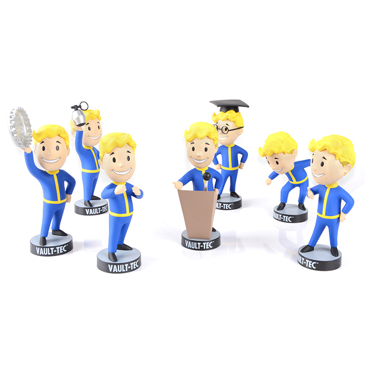 все цены на 13CM anime figure Gaming Heads Fallout 4 Vault Boy TOY Bobbleheads Series 1action figure collectible model toys brinquedos онлайн