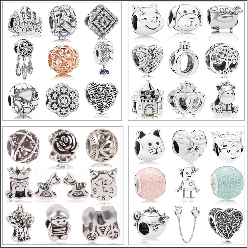 New Free Shipping Sliver Plated Bead Mickey Fairytale Animal Love Charm Fit Original Pandora Bracelet Necklace DIY Women Jewelry(China)